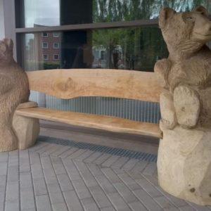 Bjørne-benk Treskulptur