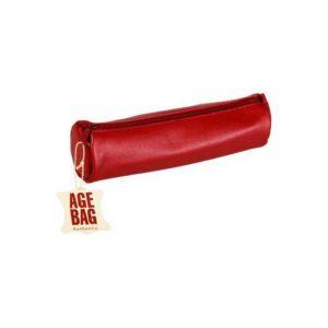 Pennal AGE BAG Ø6x21 cm skinn vinrød
