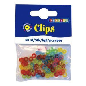 Plastklips assorterte farger (50)