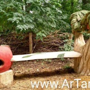 Frukt-benk Treskulptur