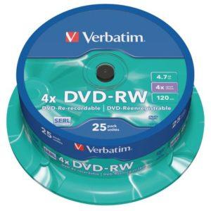 DVD-RW VERBATIM 4.7GB 4X spindle (25)