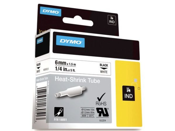 Tape DYMO Rhino kabelmerk. sort/hvit 6mm