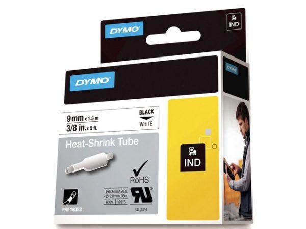 Tape DYMO Rhino kabelmerk. sort/hvit 9mm