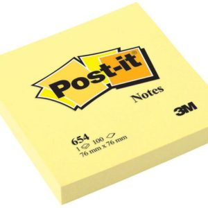 POST-IT notatblokk 76x76mm 654 gul