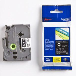 Tape BROTHER TZe-325 9mmx8m hvit/sort