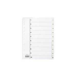 Register A4 PP 1-10 m/indeksark hvit