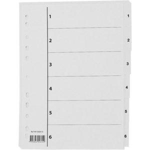 Register A4 PP 1-6 m/indeksark hvit