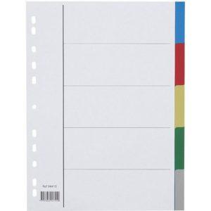 Skilleblad A4 PP 5-delt 5 farger