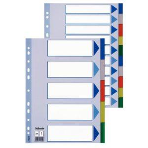 Skilleblad ESSELTE A4+ 5-delt plast 5fr
