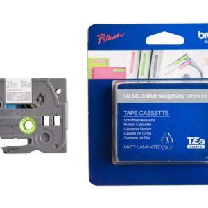 Tape BROTHER TZe-MQL35 12mmx5m hvit/grå