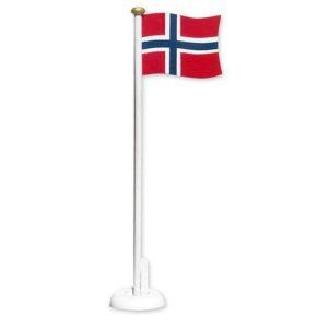Bordflagg 30cm m/hvit sokkel i tre