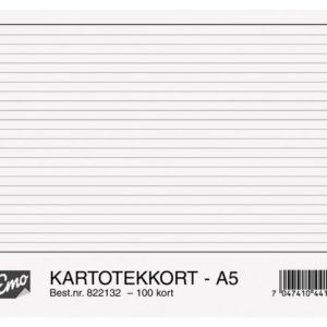 Kartotekkort EMO A5 linjert 200g (100)