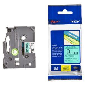 Tape BROTHER TZe-721 9mmx8m sort/grønn