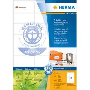 Etikett HERMA resirk A4 70x36mm (2400)