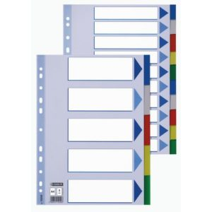 Skilleblad ESSELTE A4 10-delt plast 5fr
