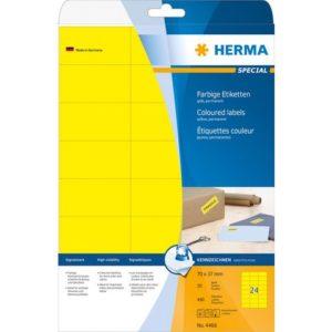Etikett HERMA A4 70x37mm gul (480)