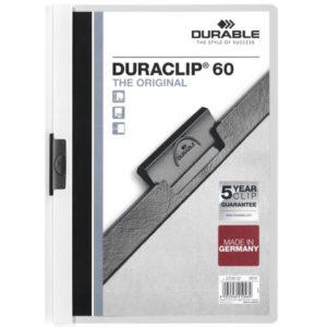Klemmappe DURACLIP A4 60 ark hvit