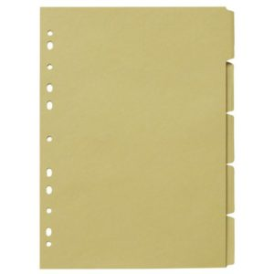 Skilleblad A4 5-delt 150g gul