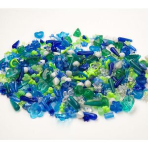 Plastperler mix blå/grønn (1000)
