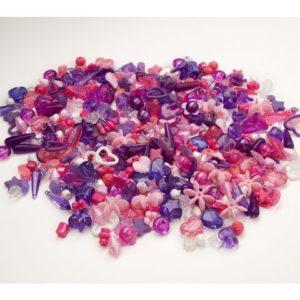 Plastperler mix lilla/rose (1000)