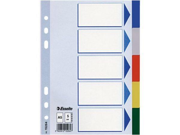 Skilleblad ESSELTE A5 5-delt flerfarget