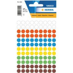 Etikett HERMA manuell ø8mm ass frg (540