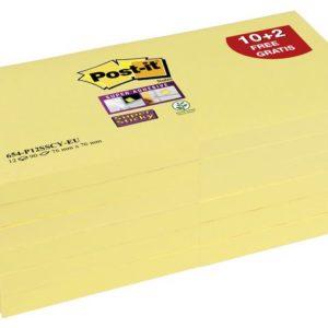 POST-IT SuperS 76x76mm 654-12 gul