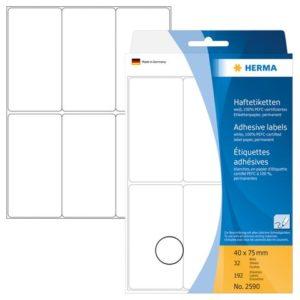 Etikett HERMA manuell 40x75mm hvit(192)
