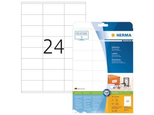 Etikett HERMA premium A4 70x36mm (600)