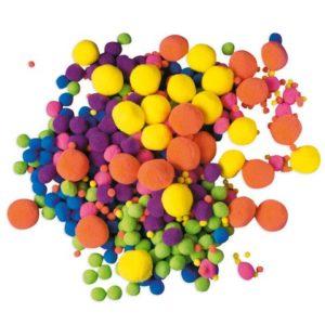 Pom Pom neon assorterte farger (500)