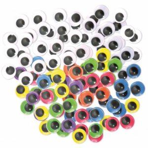 Plastøyne 15mm sort/hvit og fargede(300