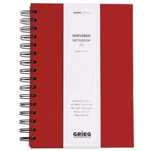 Spiralbok GRIEG A5 100g 160s linjer rød