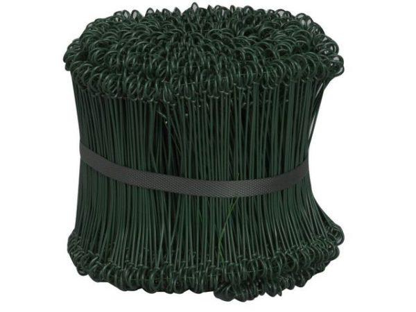 Sekketråd 150mm plastet grønn (1000)