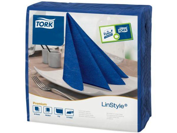 Serviett TORK linstyle 39cm blå (50)