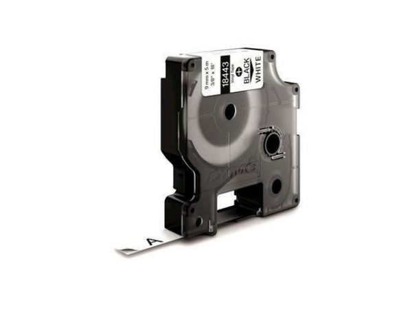 Tape DYMO Rhino nylon sort/hvit 9mm