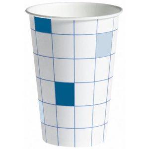 Pappbeger u/hank 20cl blå/hvit (100)