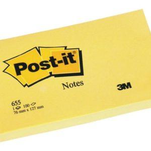 POST-IT notatblokk 76x127mm 655 gul
