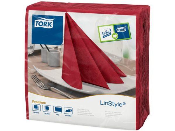 Serviett TORK linstyle 39cm burgund (50