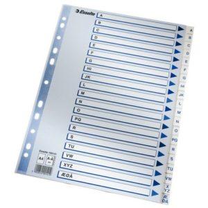 Register ESSELTE A4 plast A-Å blå/hvit