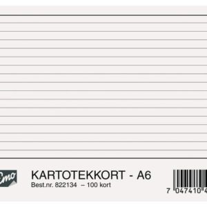 Kartotekkort EMO A6 linjert 200g (100)