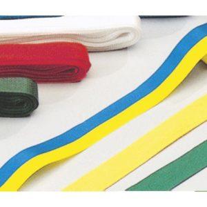 Silkebånd 15mmx5m gul/blå