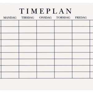 Timeplan A5 gangetabell