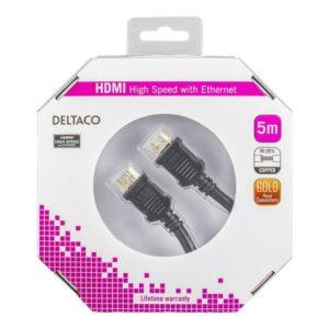 Kabel DELTACO HDMI M/M 4K 5m sort