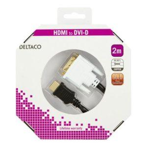 Kabel DELTACO HDMI/DVI M/M 2m sort