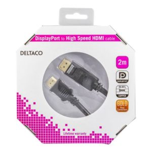 Kabel DELTACO Display/HDMI M/M 2m sort