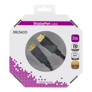 Kabel DELTACO Displayport M/M 2m sort