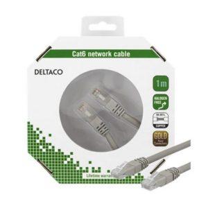 Kabel DELTACO nettverk Cat6 1m grå