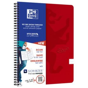 Notatbok OXFORD Touch A4+ 90g linjer rø
