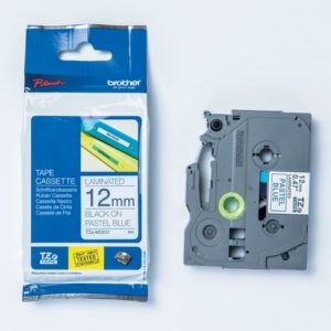 Tape BROTHER 12mmx4m sort på blå pastel