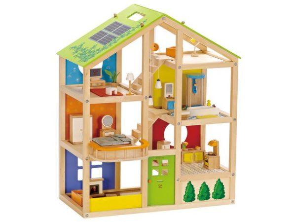 Dukkehus komplett med møbler 60x30x74cm